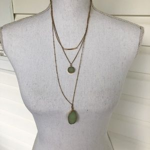 Stacked gold necklace